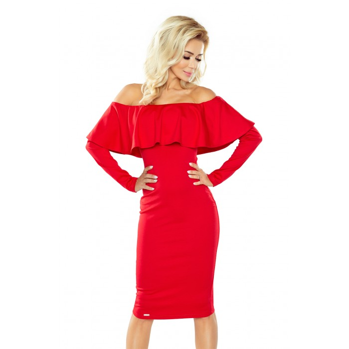 472372f1165a Červené úpletové šaty s dlhým rukávom HISPANSKA 156-2