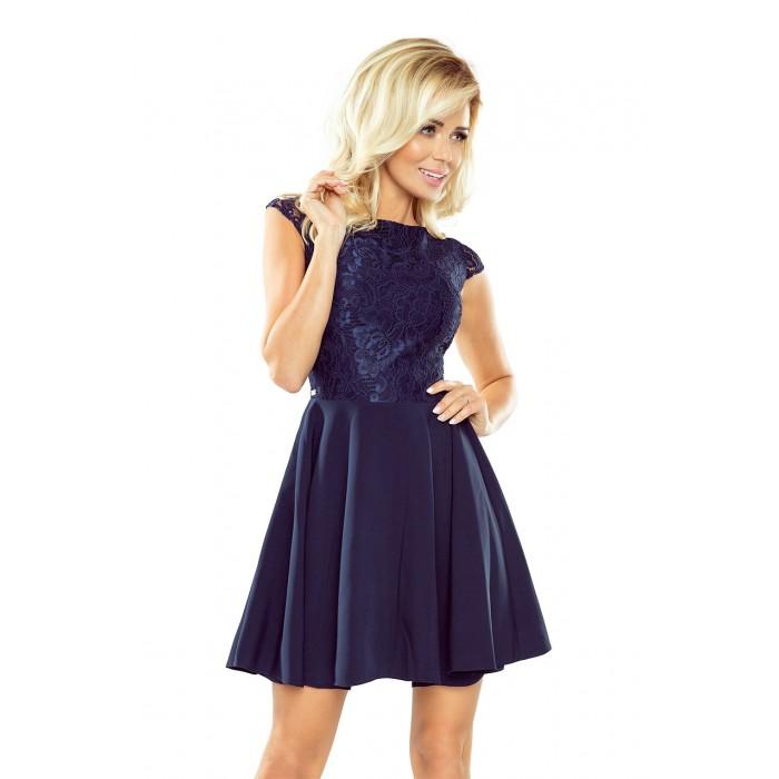 5c55ed5fb Tmavomodré šaty so širokou sukňou a čipkou MARTA 157-1