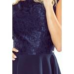 Tmavomodré šaty so širokou sukňou a čipkou MARTA 157-1 L