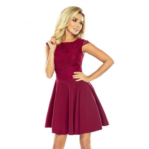 Bordové šaty so širokou sukňou a čipkou MARTA 157-3