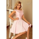 Ružové šaty so širokou sukňou a čipkou MARTA 157-4 S