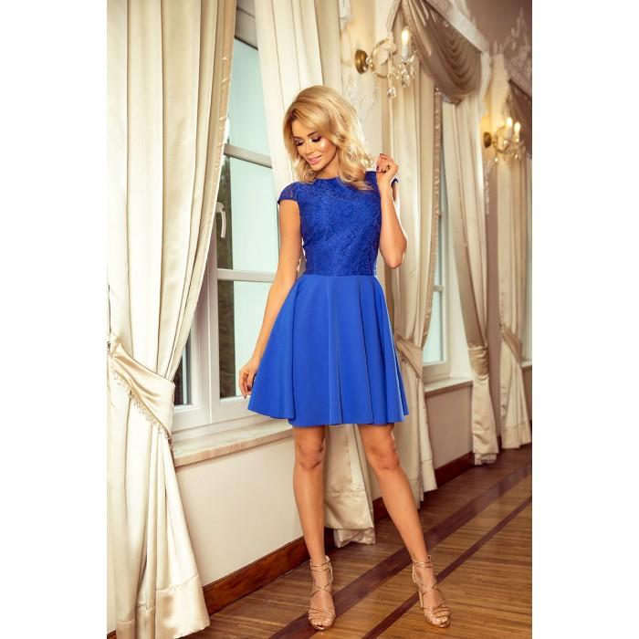 6b9ceb9fa9f7 Kráľovsky modré šaty so širokou sukňou a čipkou MARTA 157-5