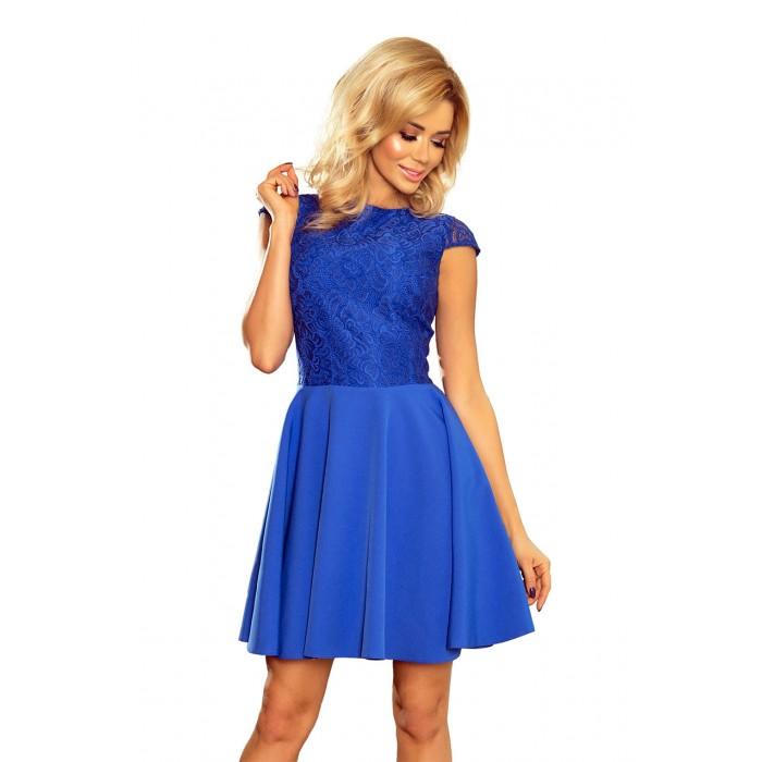 a5ad13a766688 Kráľovsky modré šaty so širokou sukňou a čipkou MARTA 157-5