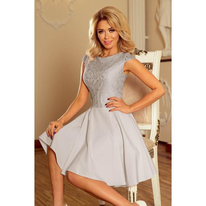 e6e376a5a Svetlosivé šaty so širokou sukňou a čipkou MARTA 157-6