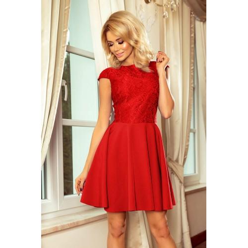 Červené šaty so širokou sukňou a čipkou MARTA 157-8