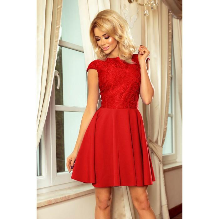 dc2b4657ae41 Červené šaty so širokou sukňou a čipkou MARTA 157-8