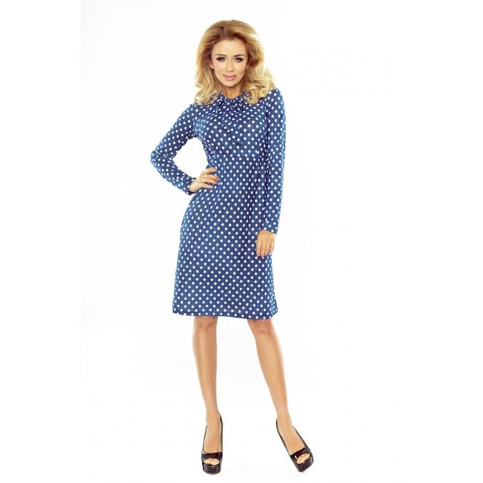 f358a044e223 Modré bodkované áčkové šaty s mašľou OLA 158-1