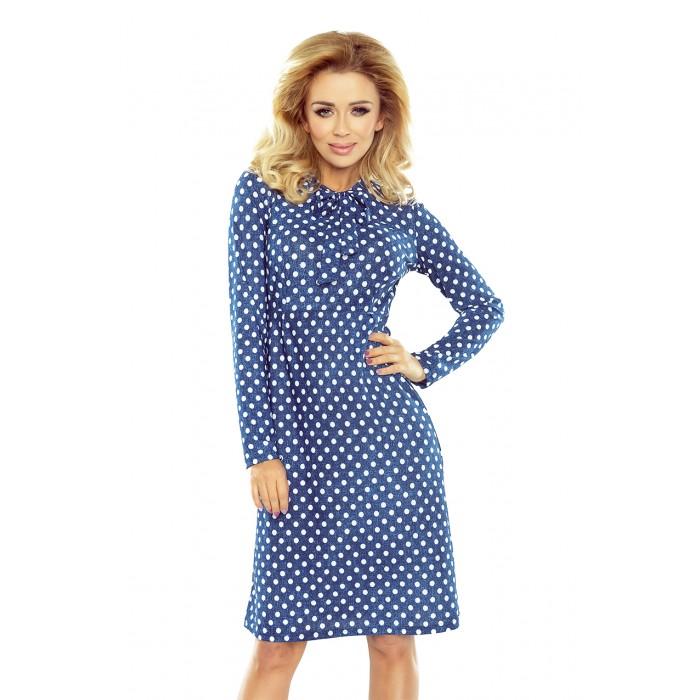 491dc8da95b9 Modré bodkované áčkové šaty s mašľou OLA 158-1