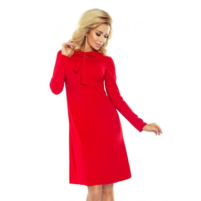 e0fbaa61f8 Červené áčkové šaty s mašľou OLA 158-2