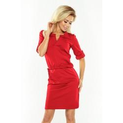 Červené púzdrové šaty so zaujímavým dekoltom AGATA 161-11