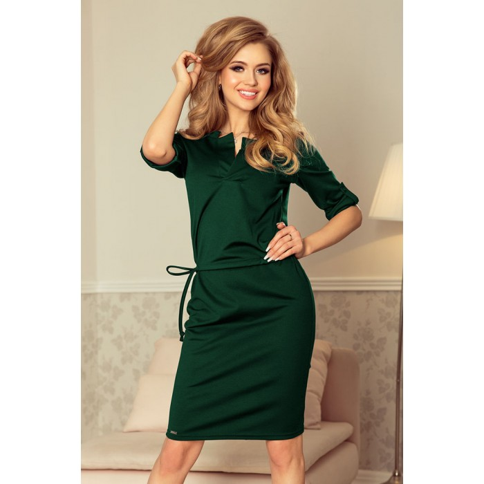 Zelené púzdrové šaty so zaujímavým dekoltom AGATA 161-12 f70ddfa0ed1