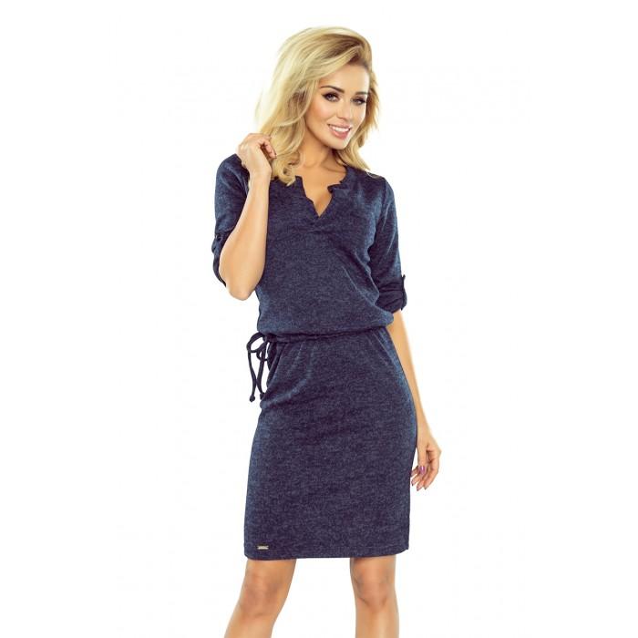 Tmavomodré púzdrové šaty so zaujímavým dekoltom AGATA 161-8 28a17c1cd60