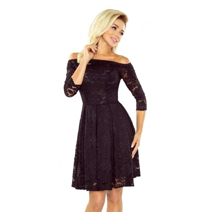 Čierne čipkované šaty s odkrytými ramenami 168-1 376240e35ec