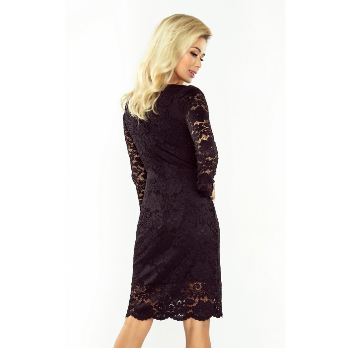 4055a7b654 Čierne čipkované šaty s dlhým rukávom a