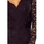 """Čierne čipkované šaty s dlhým rukávom a """"V"""" výstrihom 170-1"""