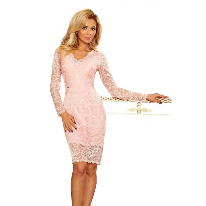 b833a83b98 Ružové čipkované šaty s dlhým rukávom a