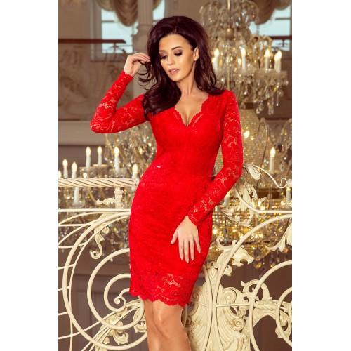 """Červené čipkované šaty s dlhým rukávom a """"V"""" výstrihom 170-6"""