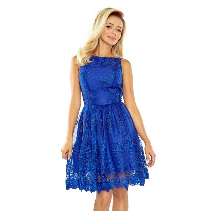 Kráľovsky modré exkluzívne čipkované šaty 173-1 a9325391792