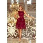 Bordové exkluzívne čipkované šaty 173-2