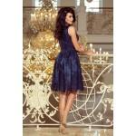 Tmavomodré exkluzívne čipkované šaty 173-3