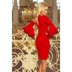 Červené púzdrové šaty so zvonovými rukávmi CARMEN 188-1