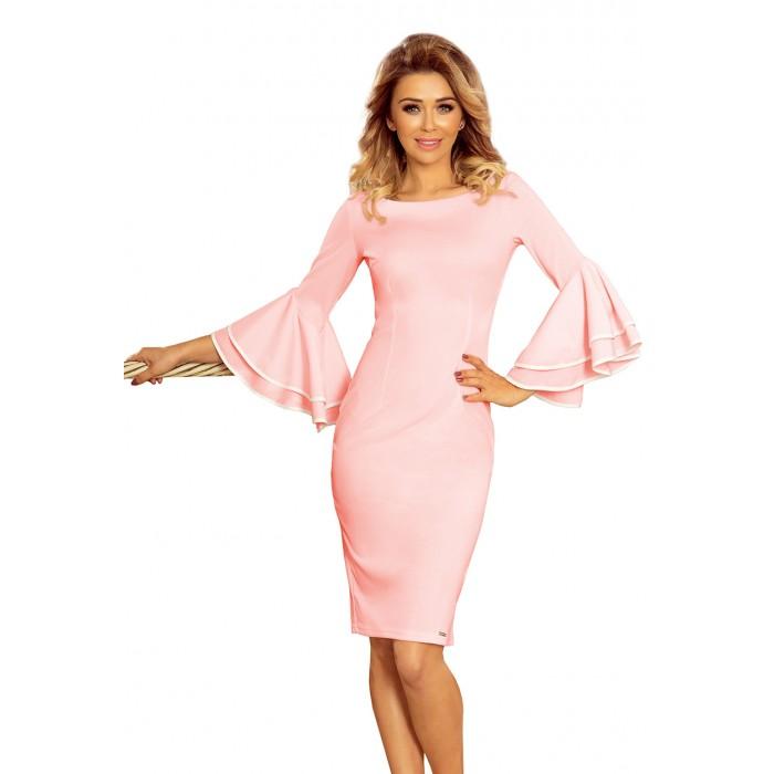 0ea7e897d43a Ružové púzdrové šaty so zvonovými rukávmi CARMEN 188-4