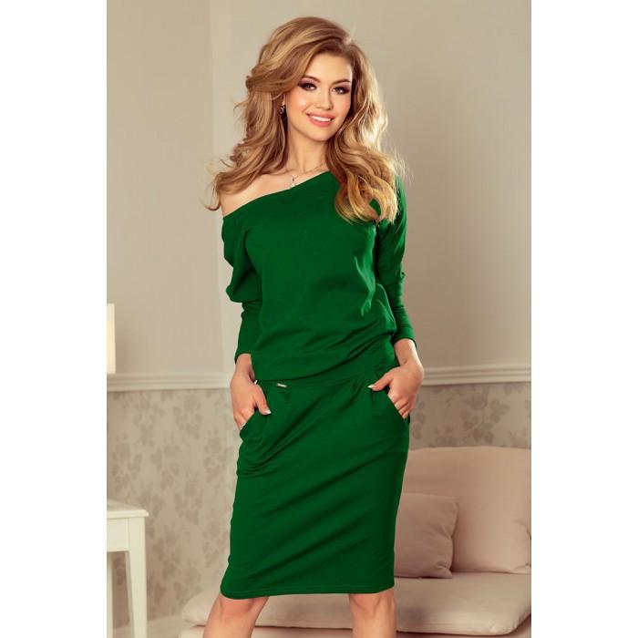 cb1da1fe1660 Zelené úpletové šaty s rozšíreným dekoltom 189-3