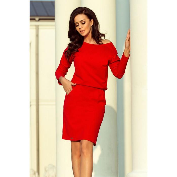 0f76e3d9877c Červené úpletové šaty s rozšíreným dekoltom 189-4