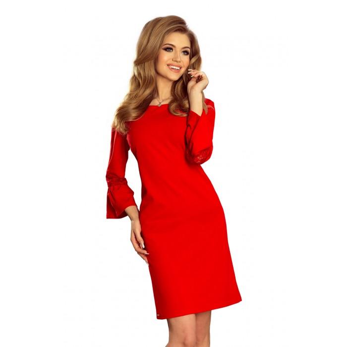 ddc708e6b8d5 Červené šaty v A-línii so zvonovým rukávom MARGARETA 190-3
