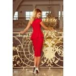 Červené púzdrové šaty s volánom 192-5