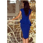 Kráľovsky modré púzdrové šaty s volánom 192-7