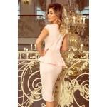 Púdrovoružové púzdrové šaty s volánom 192-8
