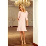 Púdrovo ružové šaty s volánikmi a opaskom MAYA 193-3