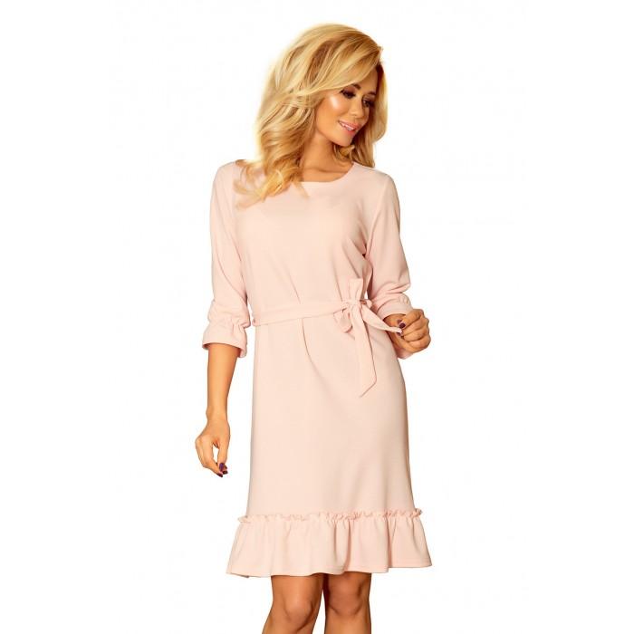 b48ad9a3d8a6 Púdrovo ružové šaty s volánikmi a opaskom MAYA 193-3