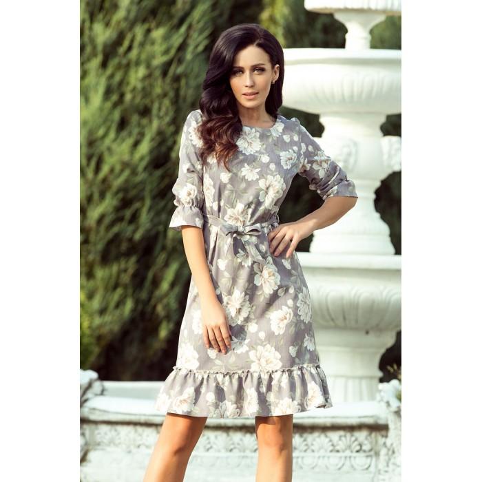3c1dc90f5aef Šedé kvetované šaty s volánikmi a opaskom MAYA 193-4