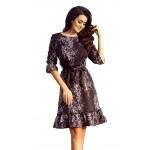 Čierne kvetované šaty s volánikmi a opaskom MAYA 193-5