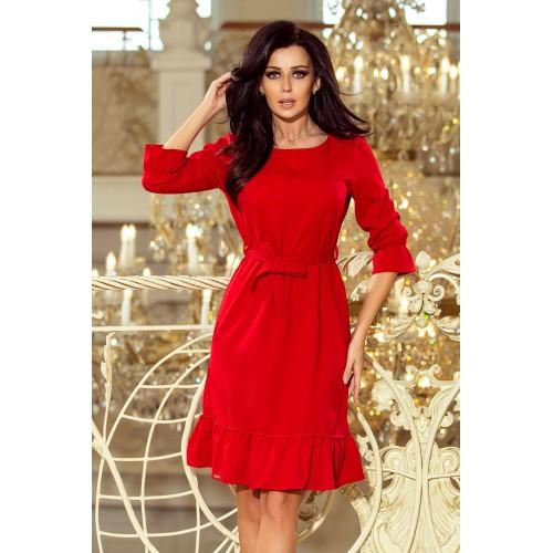 Červené šaty s volánikmi a opaskom MAYA 193-6