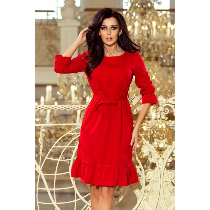 1d3c1ba72cd4 Červené šaty s volánikmi a opaskom MAYA 193-6