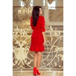 Červené šaty s volánikmi a opaskom MAYA 193-6 S