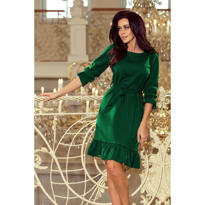 3d64810b50eb Smaragdovo zelené šaty s volánikmi a opaskom MAYA 193-8