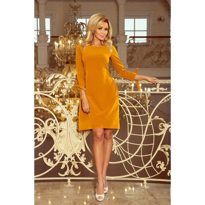 7c2dcb74e10e Horčicovo žlté šaty s viazaním vzadu ALICE 195-6