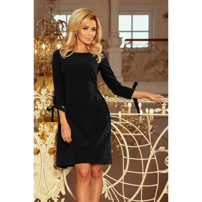5eb73f699bfa Čierne šaty s viazaním vzadu ALICE 195-8