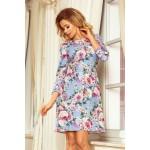 Kvetované svetlomodré šaty s viazaním vzadu ALICE 195-9
