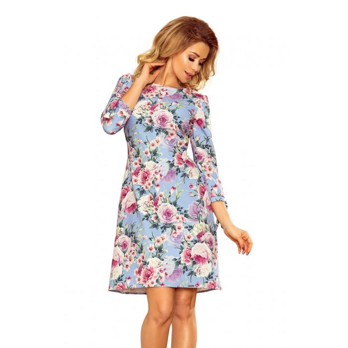 87f8aa47d746 Kvetované svetlomodré šaty s viazaním vzadu ALICE 195-9