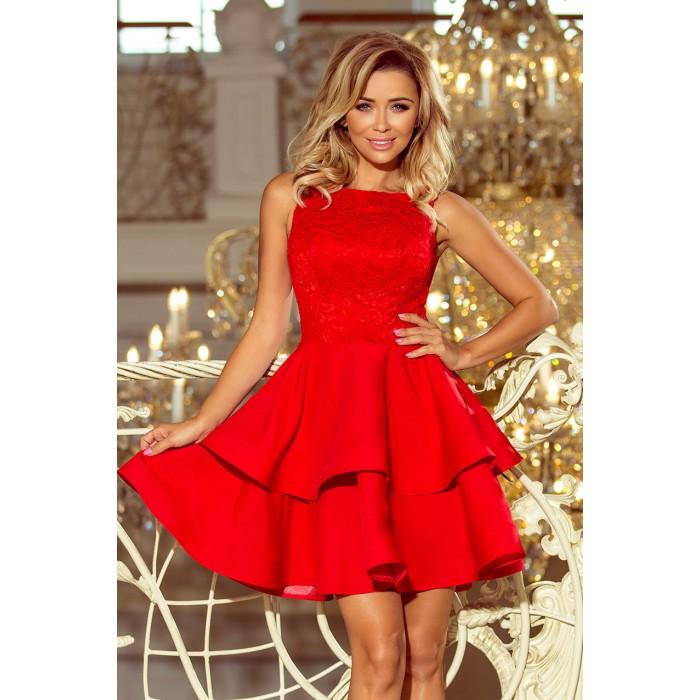 aa5e7a63b79d Červené šaty so širokými volánmi a čipkou LAURA 205-1
