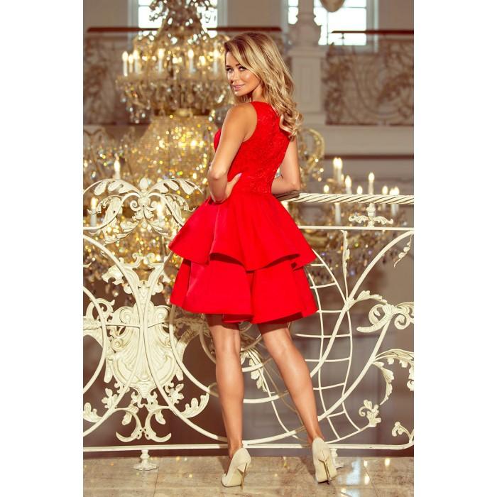 Červené šaty so širokými volánmi a čipkou LAURA 205-1 9e2136f32da