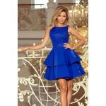 Kráľovsky modré šaty so širokými volánmi a čipkou DEVI 206-1