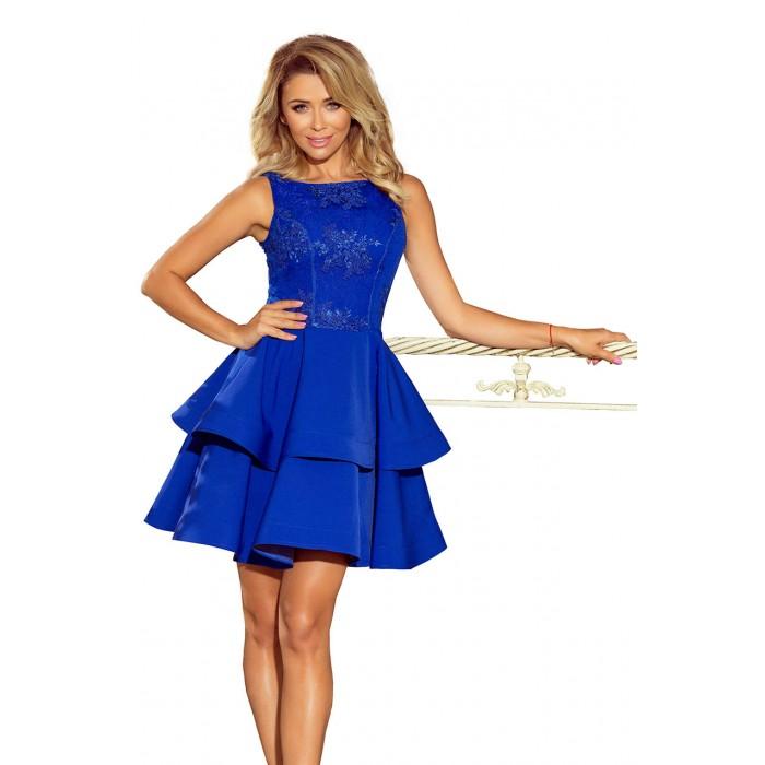 66858ba0e0fbe Kráľovsky modré šaty so širokými volánmi a čipkou DEVI 206-1