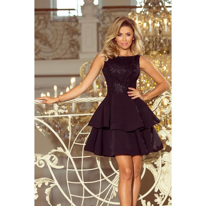 Čierne šaty so širokými volánmi a čipkou DEVI 206-2 72188df0c4a