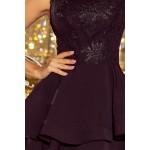 Čierne šaty so širokými volánmi a čipkou DEVI 206-2